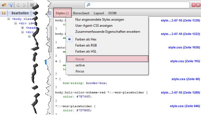 Firebug CSS Element :hover untersuchen