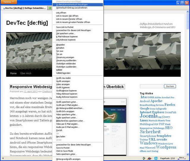 Firefox-Kontext-Menü