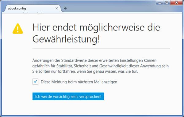 Firefox about:config Meldung