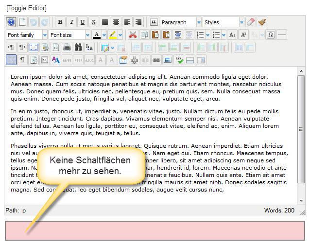 Joomla Editor ohne Schaltflächen