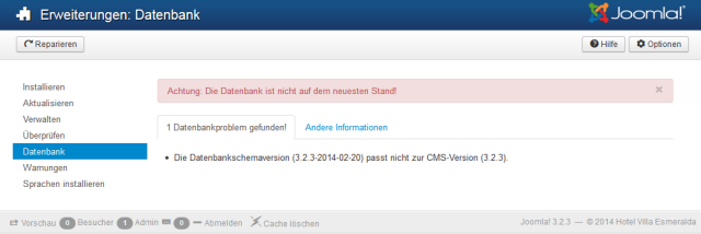 Joomla3 falsche Datenbankschemaversion nach update