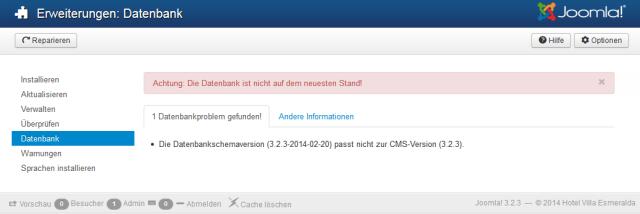 Joomla3 falsche Datenbankschemaversion nach update