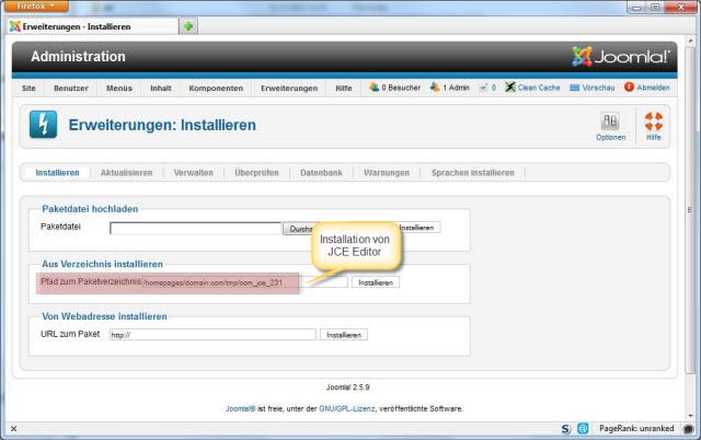 """Joomla """"Aus Verzeichnis installieren"""" Option"""