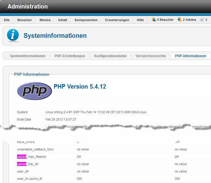 PHP upload_max_filesize Beschränkung