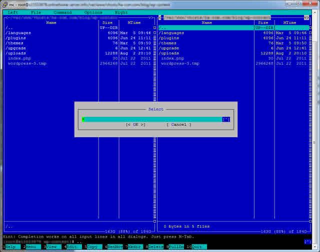 Midnight Commander - Dateien und Verzeichnisse selektieren