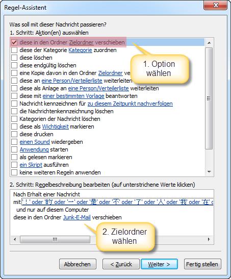 Outlook Neue Regel Aktionen auswaehlen