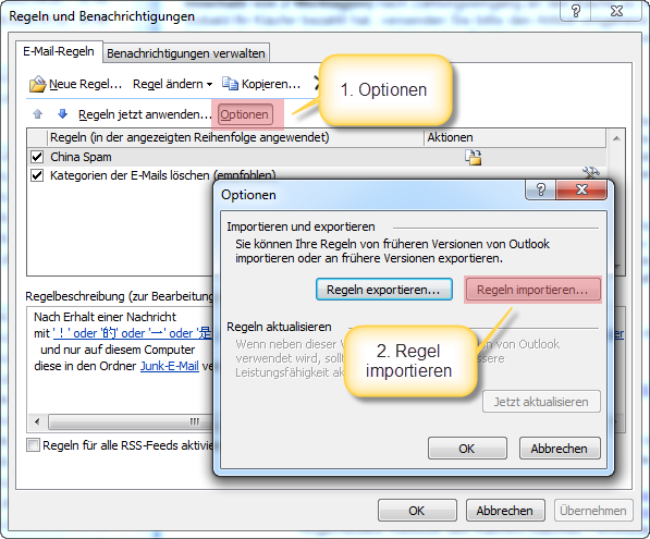 Outlook Neue Filter Regel Importieren