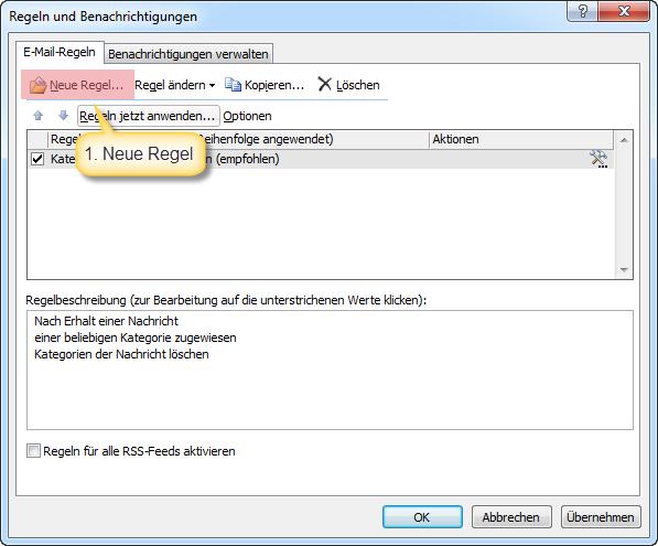 Outlook Neue Filter Regel erstellen