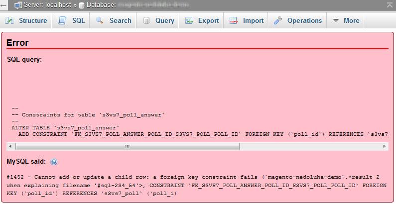 Magento Import Foreign Key Error