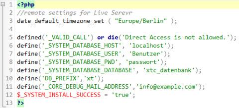MySQL Datenbank Paramter