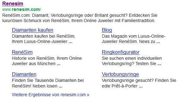 Vorhandensein von Sitelinks in den Google SERP