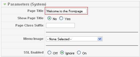 Joomla - Welcome to the Frontpage