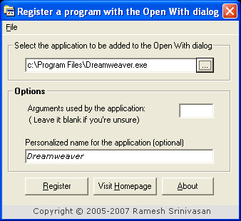 OpenWithAdd Dialog Fenster